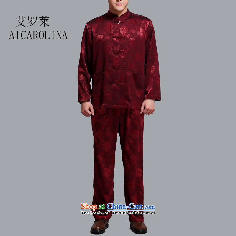 Rollet HIV in the spring and autumn of older men Tang dynasty long-sleeved T-shirt Kit Chinese middle-aged men casual Benefic��ncia Instru??o Gratuita aos Pobres de Bordeaux?XL