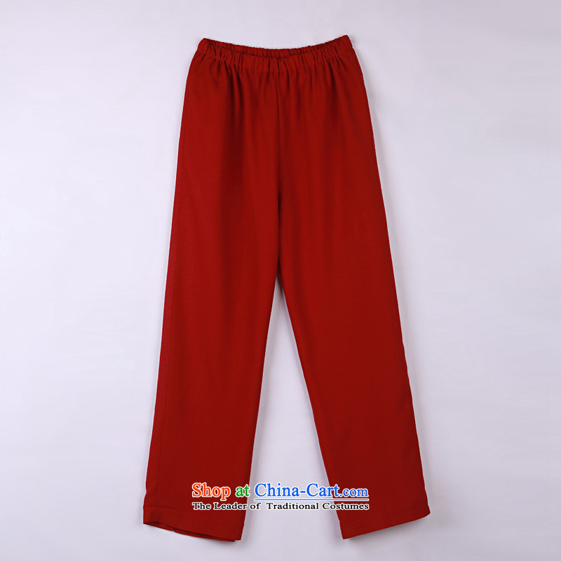 2015 Spring_Summer load new products from Vigers Po Tang dynasty China Wind Pants in older Tang pants dark red燣_50_ 15