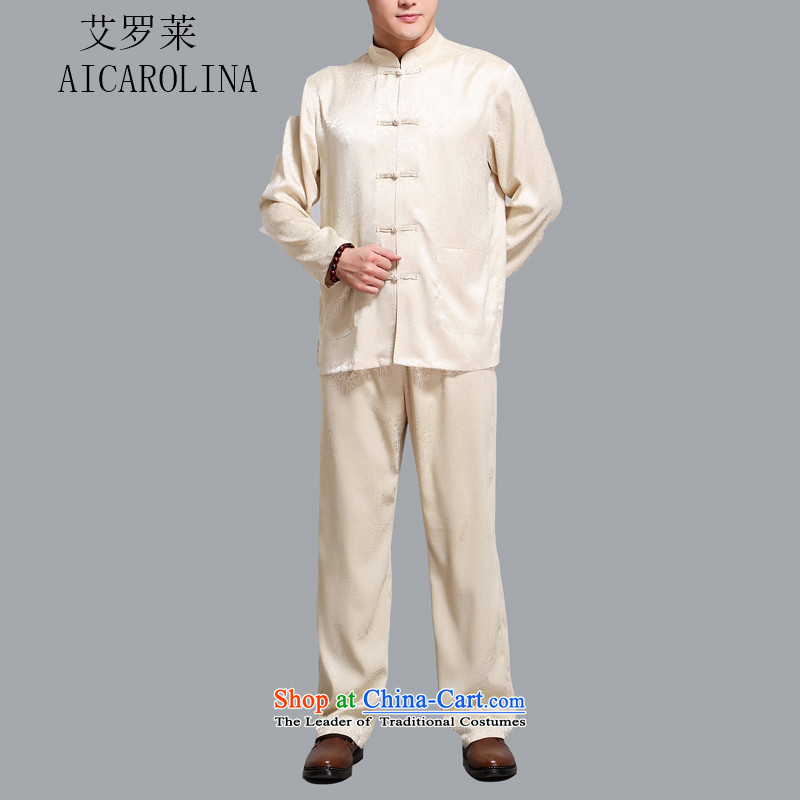 Hiv Rollet Tang dynasty men of the middle-aged long-sleeved kit with Chinese shirt is father tie china wind men gold燲XL
