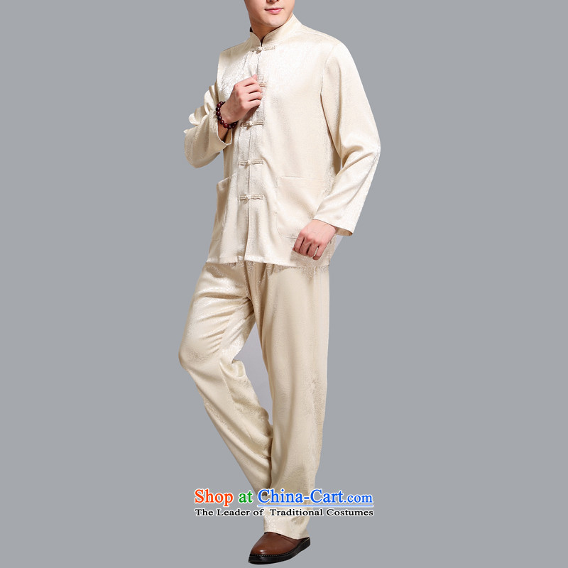 Hiv Rollet Tang dynasty men of the middle-aged long-sleeved kit with Chinese shirt is father tie china wind men gold聽XXL, HIV ROLLET (AICAROLINA) , , , shopping on the Internet