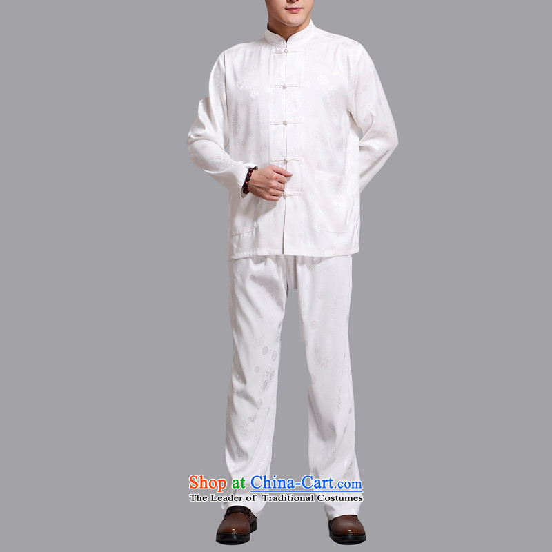 Hiv Rollet 2015 New Tang dynasty and long-sleeved Kit Chinese men in China wind Tang Dynasty Package older white聽XXXL