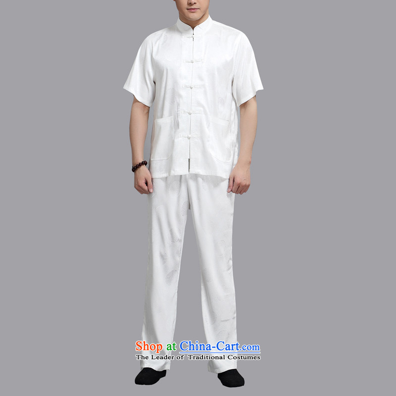 Hiv Rollet Chinese Tang dynasty China wind elderly men in Tang Dynasty short-sleeved summer father national costumes White?4XL