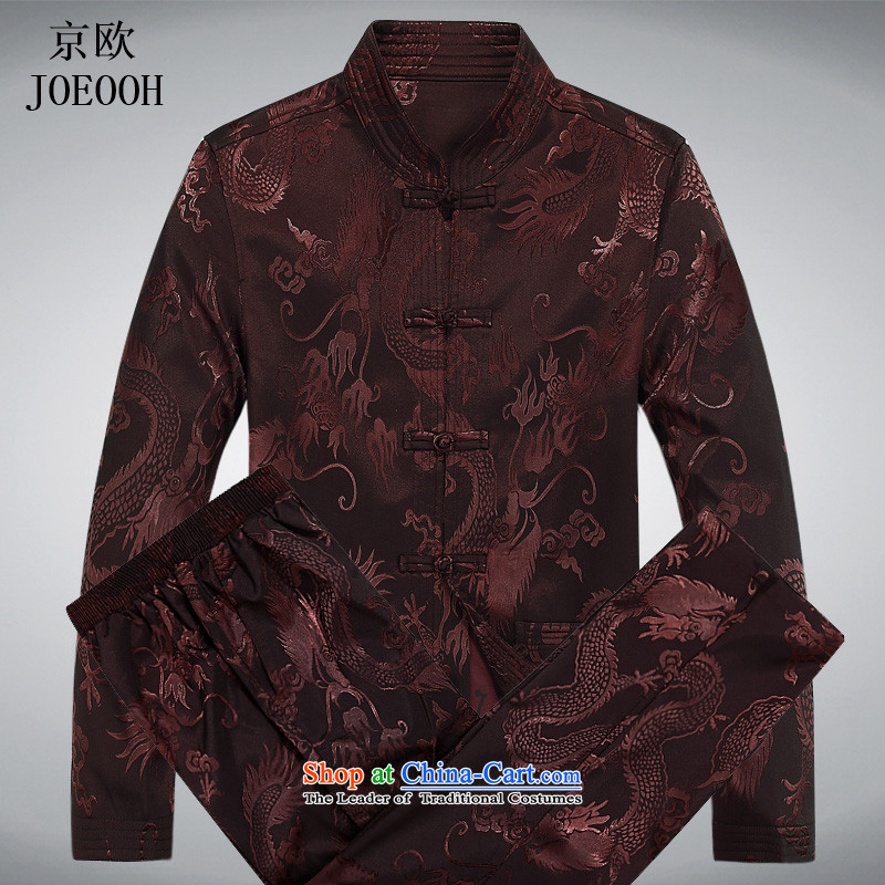 The elderly in the OSCE Kyung Tang dynasty male spring and summer long-sleeved Chinese Chinese tunic kit father blouses ethnic Han-new long-sleeved brown kit聽XXL