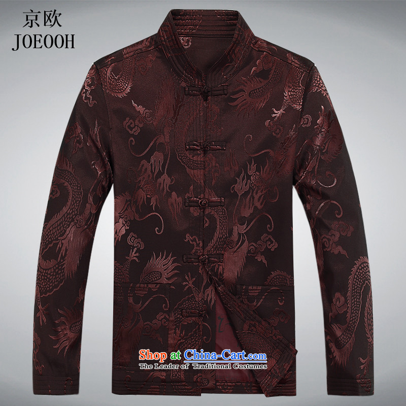 The elderly in the OSCE Kyung Tang dynasty male spring and summer long-sleeved Chinese Chinese tunic kit father blouses ethnic Han-new long-sleeved brown聽XXL, kit (Beijing) has been pressed. OOH JOE shopping on the Internet