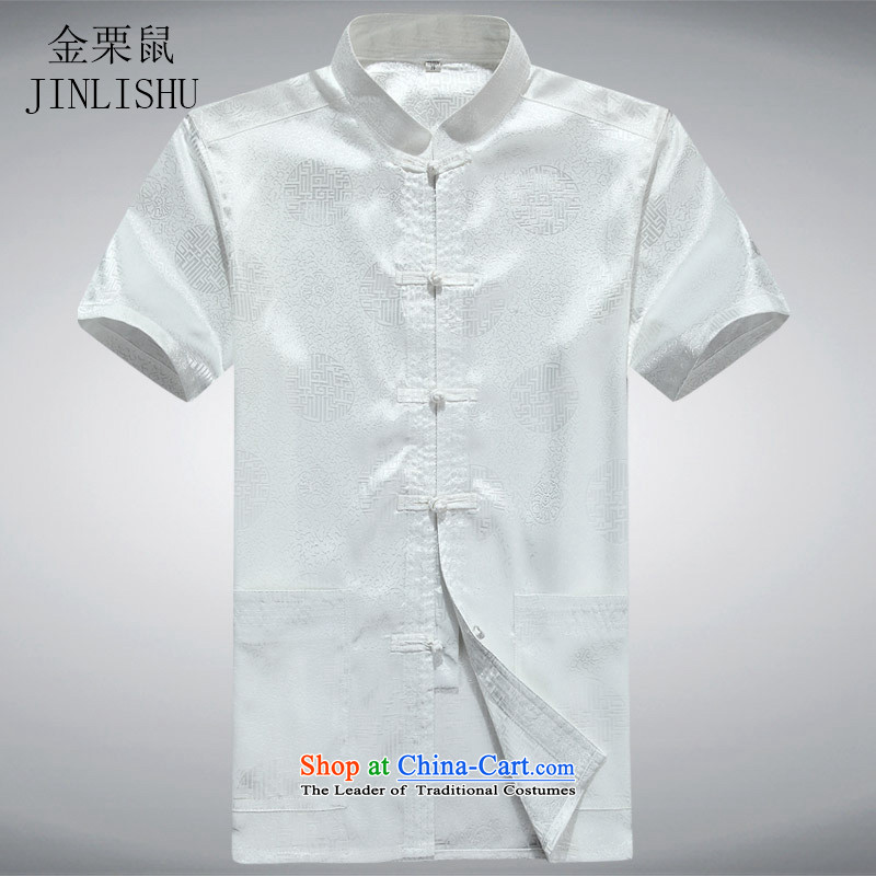 Kanaguri mouse men in the national costumes of older men Tang dynasty short-sleeved summer white L