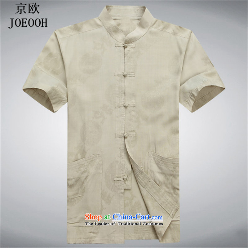 Beijing Europe China wind men Tang dynasty male summer short-sleeved blouses Tang Chinese men's national costume Han-men?s gold