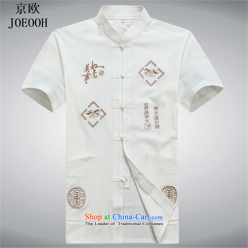 Beijing OSCE Tang Dynasty Package and short-sleeved in older men Tang Dynasty Recreation china national costumes summer wind white?L