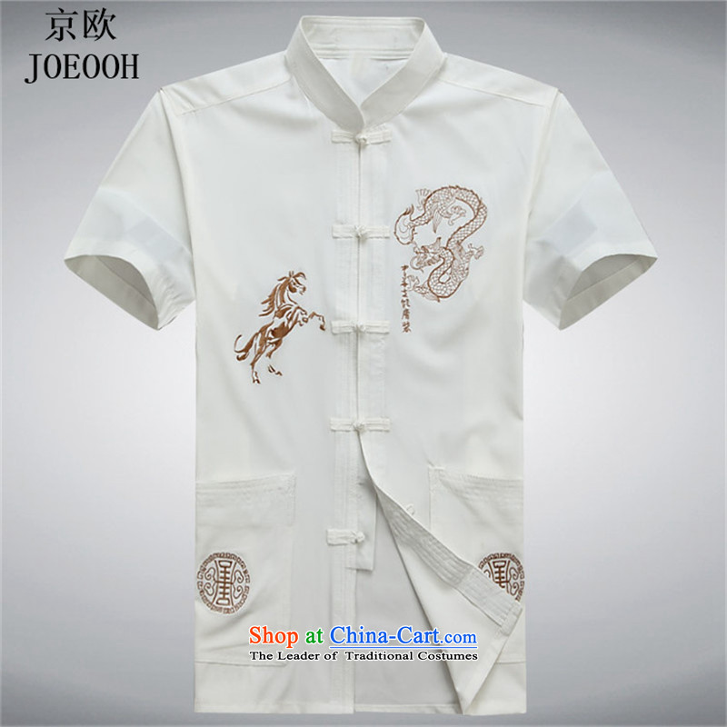 Beijing New European summer short-sleeved T-shirt and Tang dynasty Tang dynasty national dress male short-sleeved shirt Tang dynasty kung fu spirit of the White燲XL