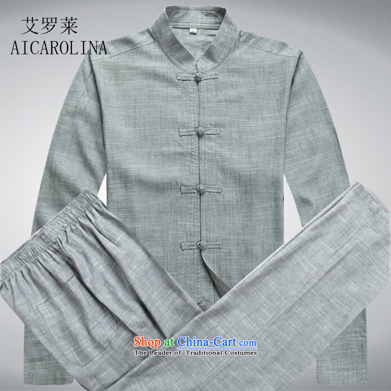 Hiv Rollet spring and summer men Tang Dynasty Package for long-sleeved older Chinese Ethnic Kit Man Kit slate?M