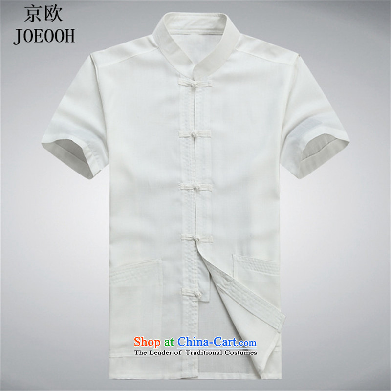 Beijing Summer linen men OSCE Tang dynasty male short-sleeve packaged in older cotton father installed China wind ball-han-white shirt聽XXL