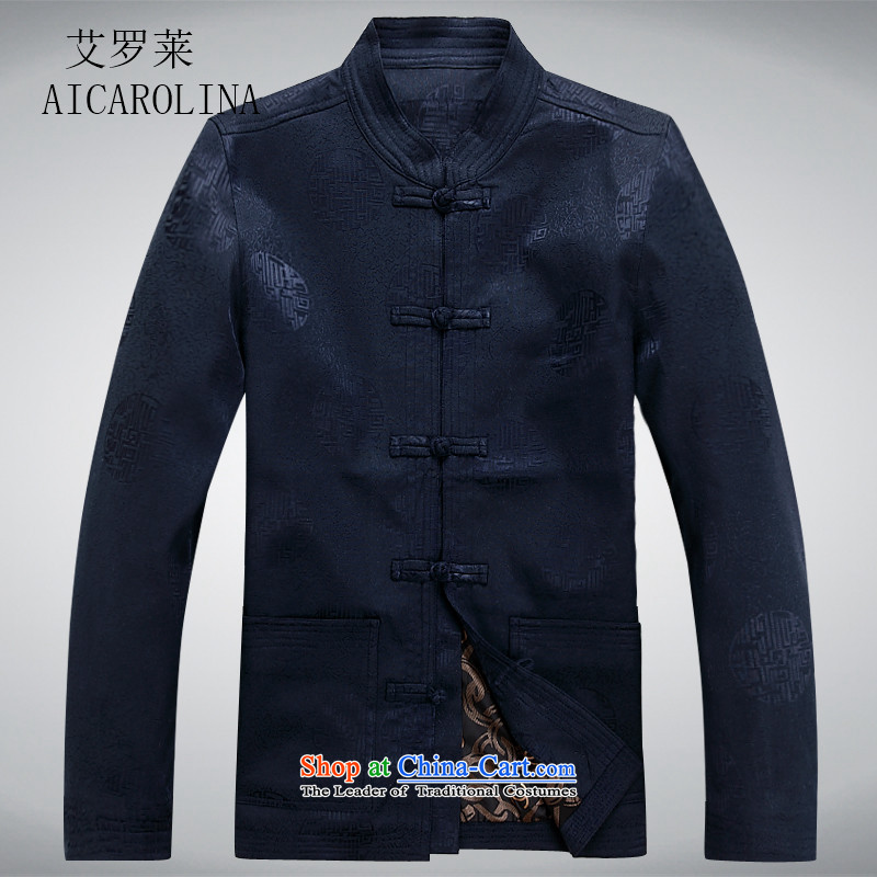 Hiv Rollet of older persons in the Tang dynasty and long-sleeved shirt men Chun men's jacket coat elderly Tang clothes blue?XXL