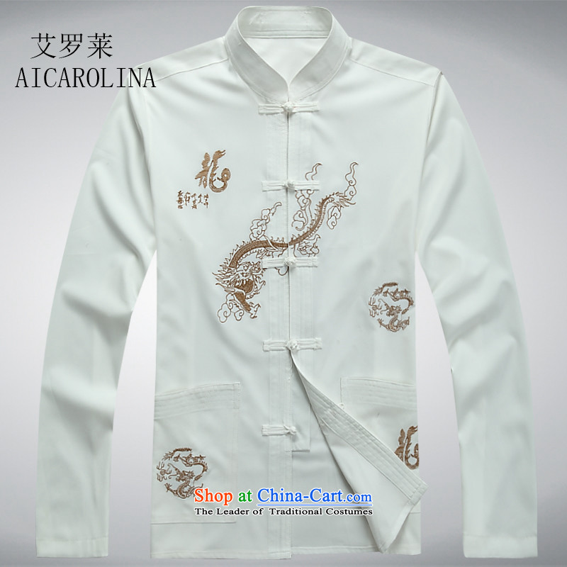 Hiv Rollet New Men long-sleeved Tang Dynasty Package men casual Chinese shirt Tang white shirt M