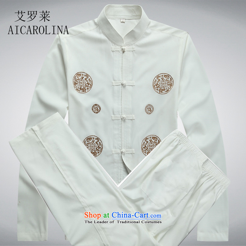 Hiv Rollet new spring and autumn in older men Tang dynasty long-sleeved Kit Tang Dynasty Chinese middle-aged men's shirt white kit聽S