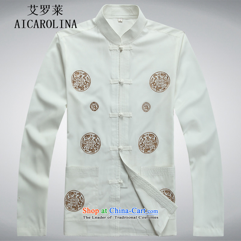 Hiv Rollet new spring and autumn in older men Tang dynasty long-sleeved Kit Tang Dynasty Chinese middle-aged men's shirt white kit聽S, HIV (AICAROLINA ROLLET) , , , shopping on the Internet