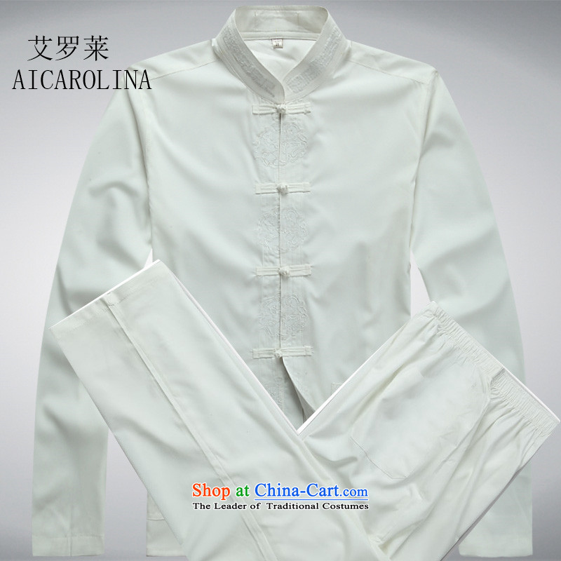 Hiv Rollet China wind men middle-aged Tang Dynasty Package long-sleeved shirt Chinese men's Sau San disk detained Tang dynasty white kit?XL
