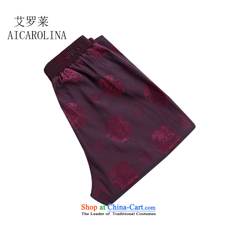 Hiv Rollet Spring and Autumn China Wind Pants men tang of older persons in the casual pants Chinese grandfather trousers red聽XL