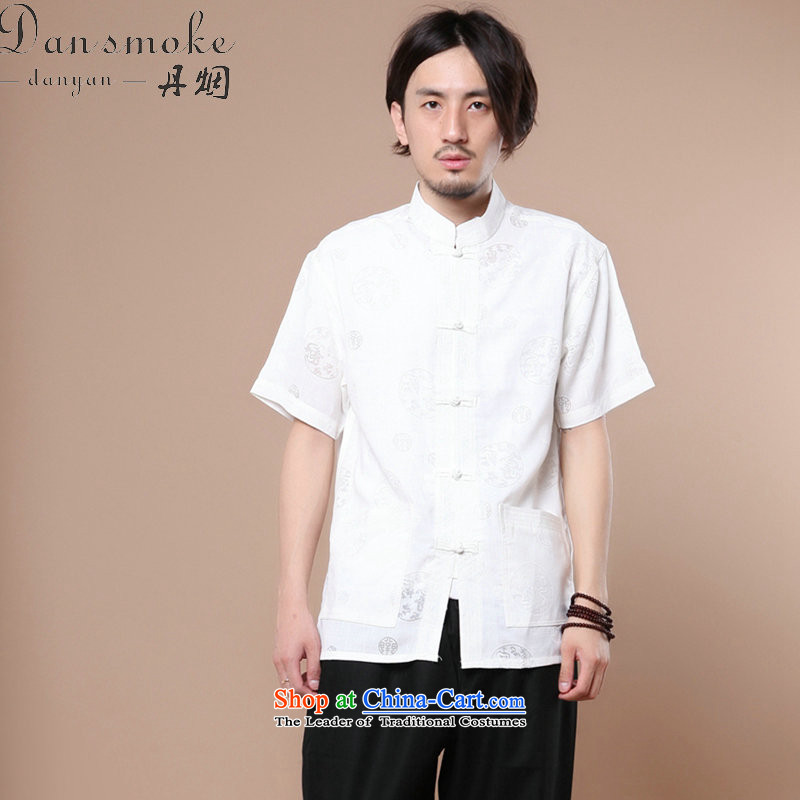 Dan smoke summer New Men Tang Dynasty Chinese collar of his Korean clothing cotton linen men leisure short-sleeved T-shirt white?L