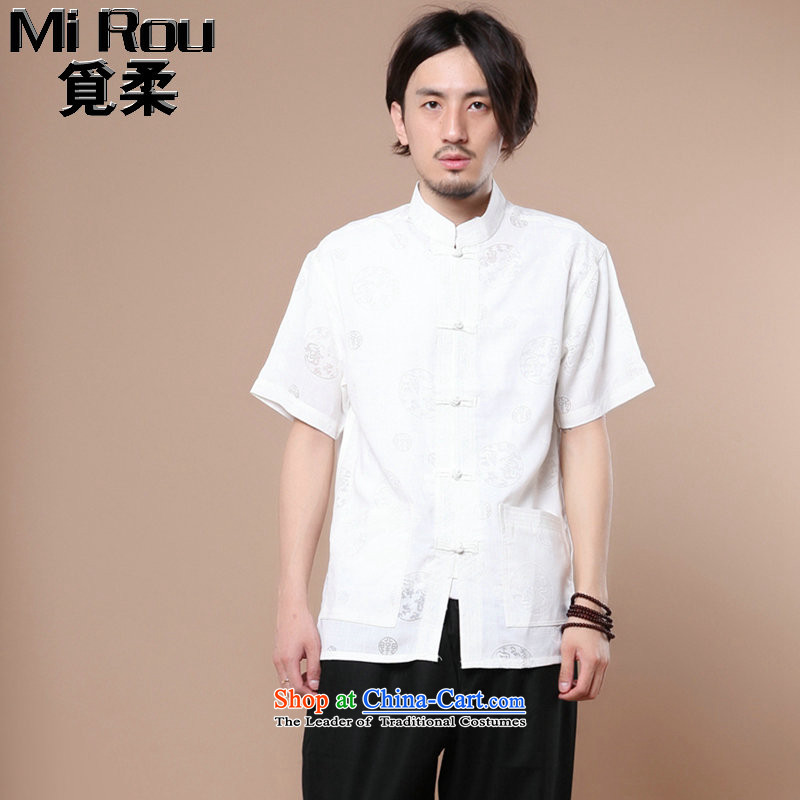 Find Sophie Summer New Men Tang Dynasty Chinese collar of his Korean clothing cotton linen men leisure short-sleeved T-shirt white?L