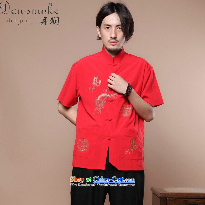 Dan smoke summer new men of the Tang Dynasty Chinese badges of Tai Chi-collar Chinese Dragon Short-Sleeve Men Tang Blouses Figure Color XL