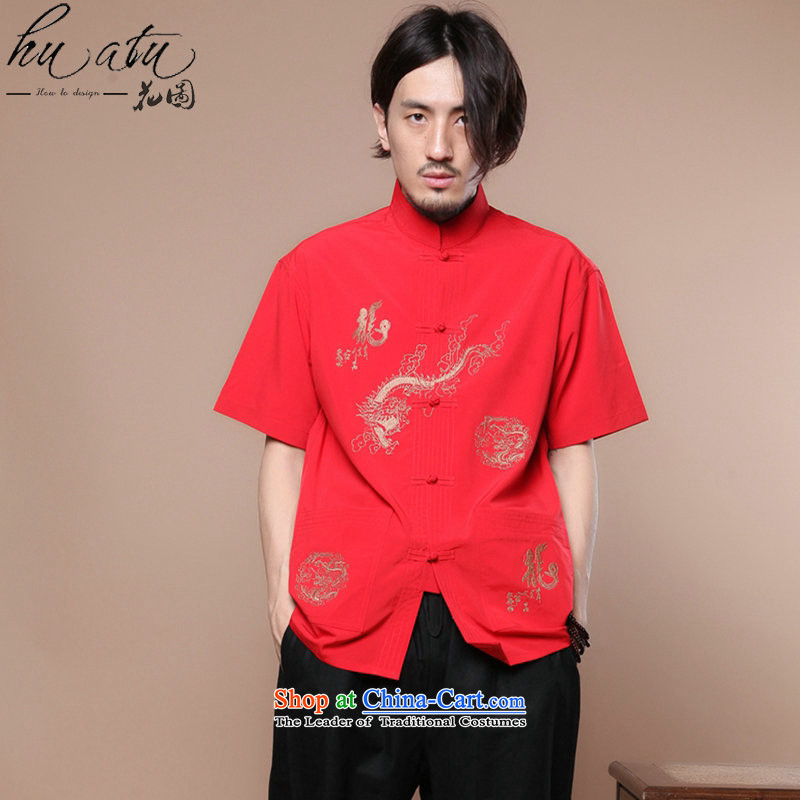 Figure for summer flowers new men of the Tang Dynasty Chinese badges of Tai Chi-collar Chinese Dragon Short-Sleeve Men Tang Blouses Figure Color?XL