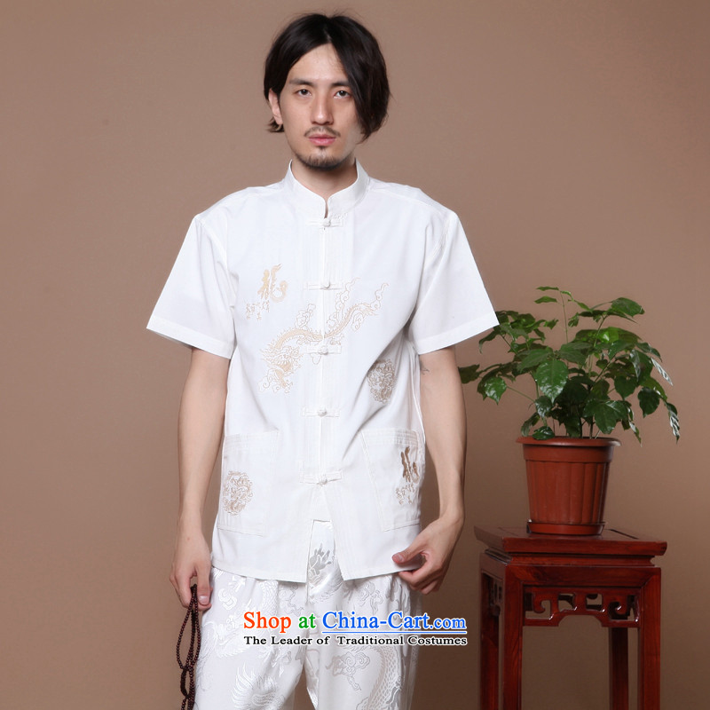 Figure for summer flowers new men of the Tang Dynasty Chinese badges of Tai Chi-collar Chinese Dragon Short-Sleeve Men Tang blouses white?L