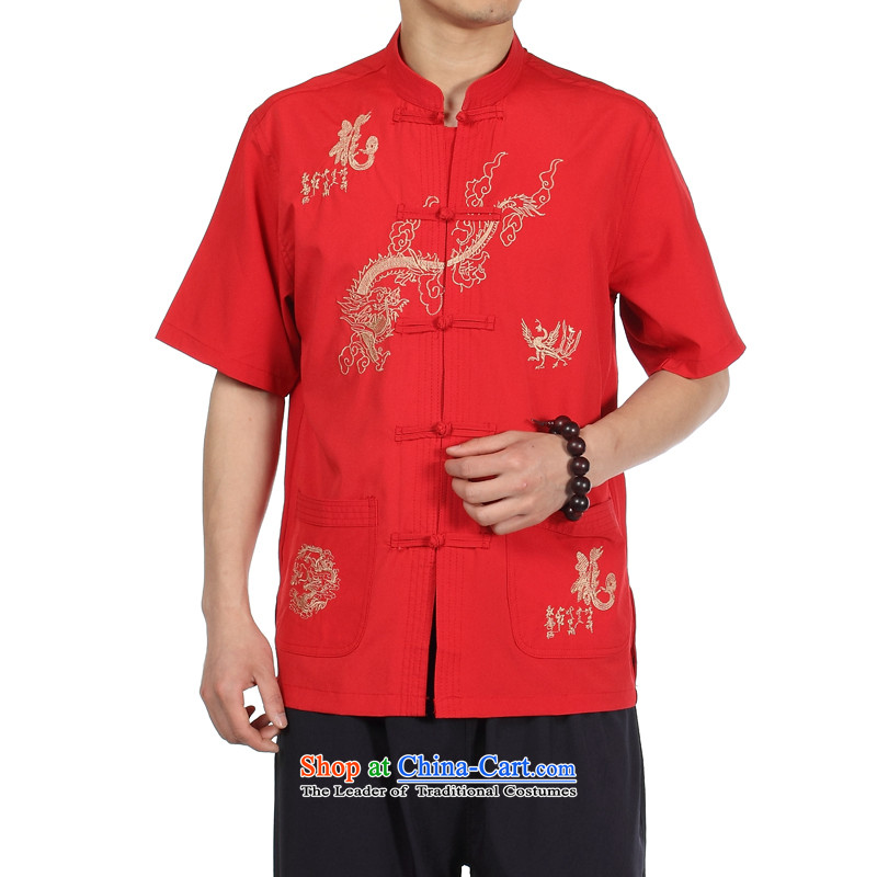 Kosovo card, men's shirts in the spring and summer to Fleece Jacket Youth Shirts older men serve large shirt compassionate short-sleeved XP Tang dynasty silk shirt Red�42