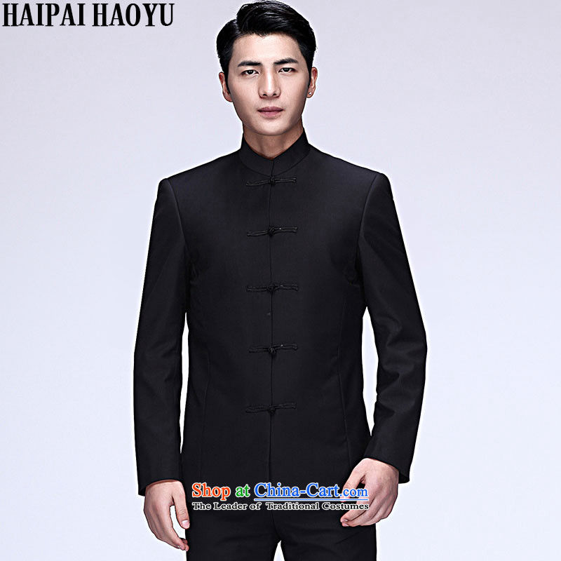 �Tang Dynasty HAIPAIHAOYU Chinese tunic Kit Chinese collar suits both business and leisure retro-detained men married to suit Sau San bridegroom pack black dragon design�L/170 No