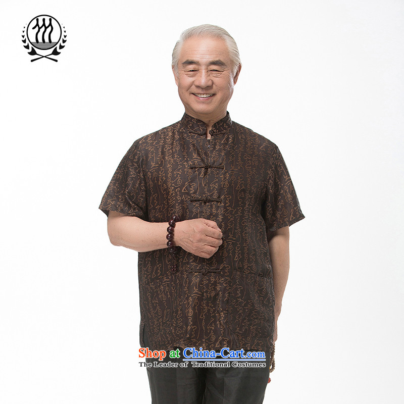 Bosnia and thre line short-sleeved Tang dynasty summer new men incense cloud male silk yarn Tang dynasty in his shirt-sleeves blouse of older men Tang dynasty incense cloud?XXL/185 yarn