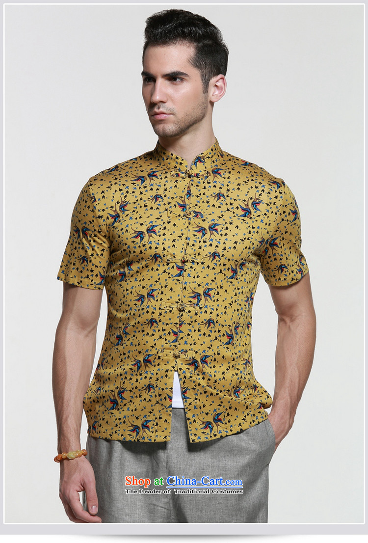 Shuai 2015 Ocean Sau San Tong Men loaded short-sleeved shirt Chinese men's shirts micro pop-China wind collar male yellow41/175 summer picture, prices, brand platters! The elections are supplied in the national character of distribution, so action, buy now enjoy more preferential! As soon as possible.