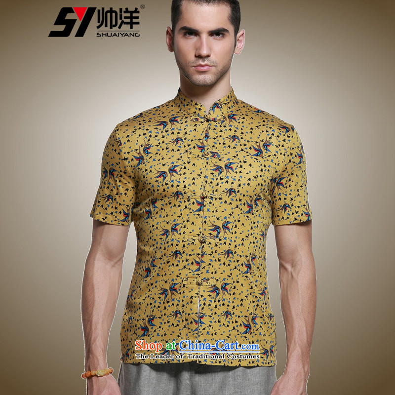 Shuai 2015 Ocean Sau San Tong Men loaded short-sleeved shirt Chinese men's shirts micro pop-China wind collar male summer yellow聽41_175