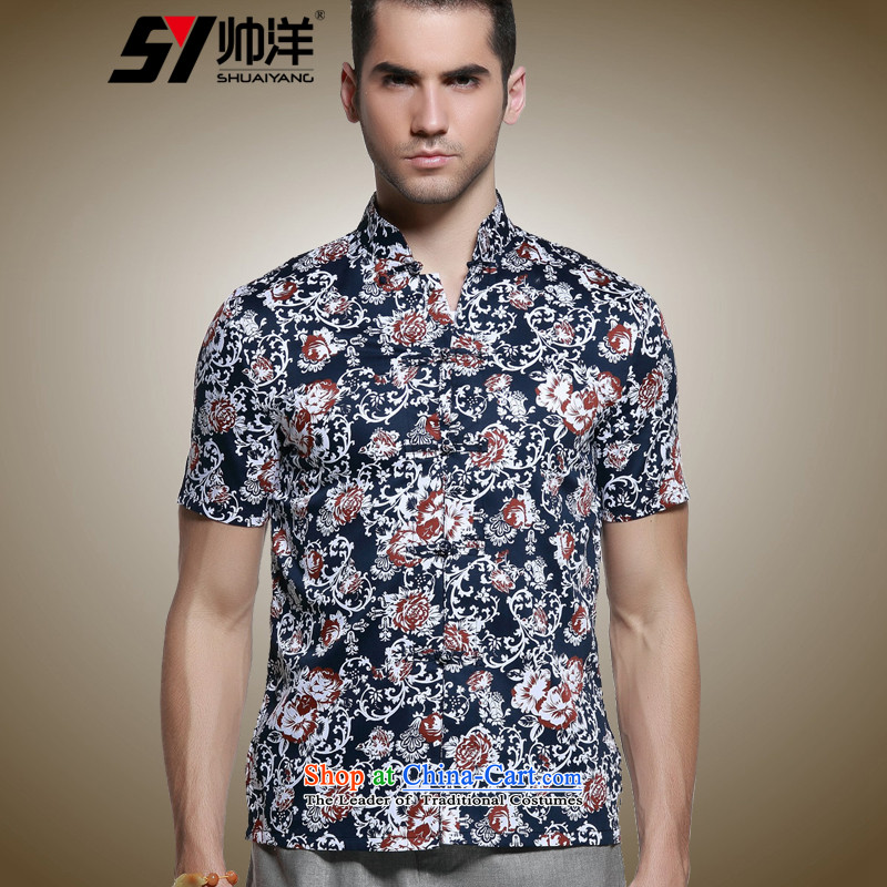 The Ocean 2015 summer cool new men Tang dynasty short-sleeved shirt Sau San Chinese shirt and national costumes of pure cotton dark blue?39/165