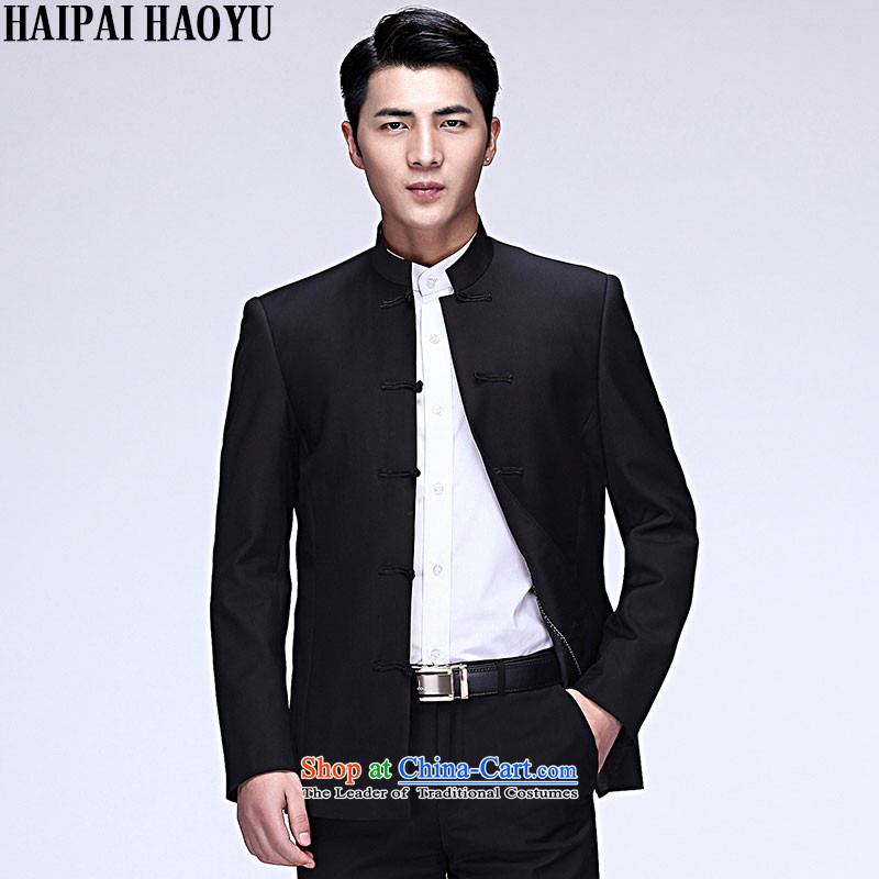 聽China China wind HAIPAIHAOYU collar suit Male Tang Dynasty Chinese tunic Sau San business and leisure single jacket black T-shirt with single tang no聽L_170 dragon design