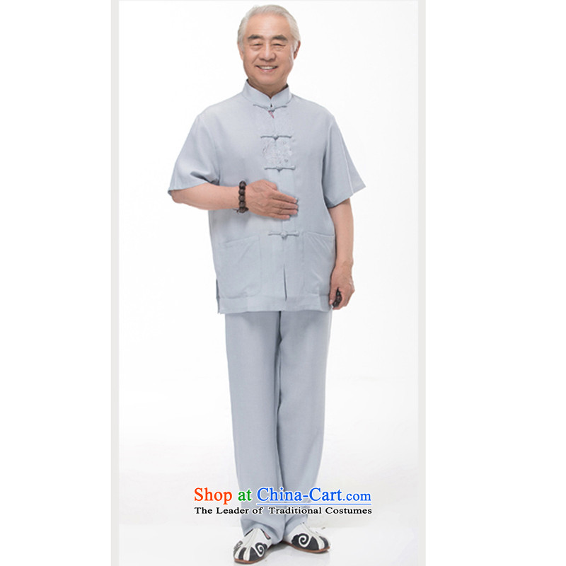 In the summer of older persons in the Tang dynasty men linen short sleeve packaged ethnic Korean jogging service pack half sleeve shirt dad cotton linen package 968 gray-blue?L/175 Kit