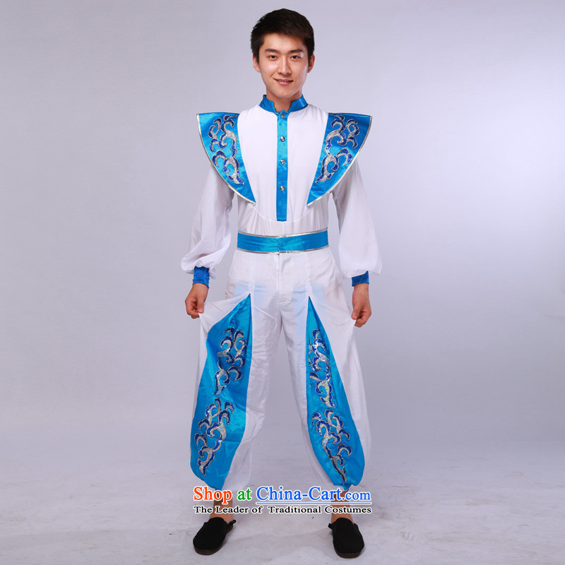 Men's modern dance costumes dance performances of the Han Services Services Annual Meeting will blue and white?175/92(L)