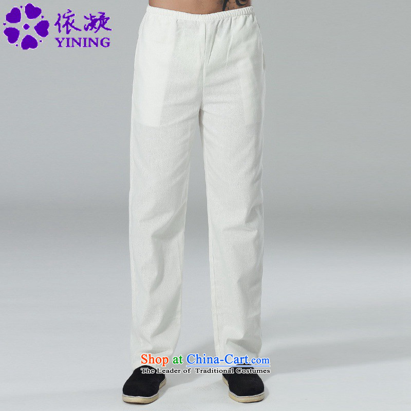 In accordance with the new fuser men of ethnic Chinese improved casual pants elastic waist pure color Tang pants?LGD/P0015#??3XL White