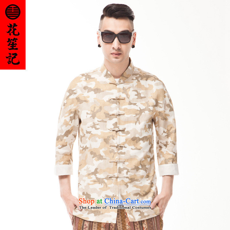 China wind cotton linen camouflage retreat Yi Men's Mock-Neck tray clip Chinese style spring and summer shirt retro national?165/80A yellow