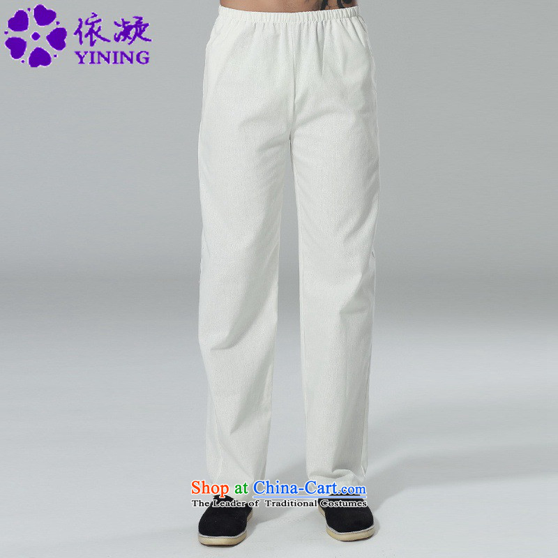 In accordance with the new fuser men elastic waist pure color Tang dynasty casual pants straight legged pants foot kept their mouths shut-chi trousers燣GD_P0014_牋3XL White