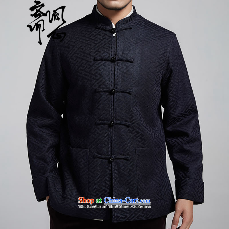 Q Shinsaibashi represented a health autumn [New Men China wind silk jacquard long-sleeved jacket Tang�1074��XXXL Dark Blue