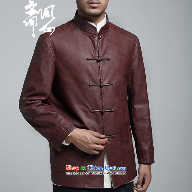 Q Shinsaibashi represented a health autumn -men on the new Chinese Jacket coat buttoned, rom leisure WXZ1156聽XXXXL wine red