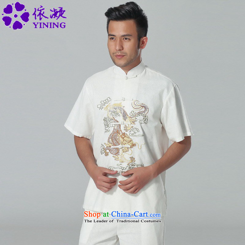 In accordance with the new summer gel men of ethnic improved shirt collar single row detained embroidery father short-sleeved replacing Tang blouses�LGD/M0057#��3XL White