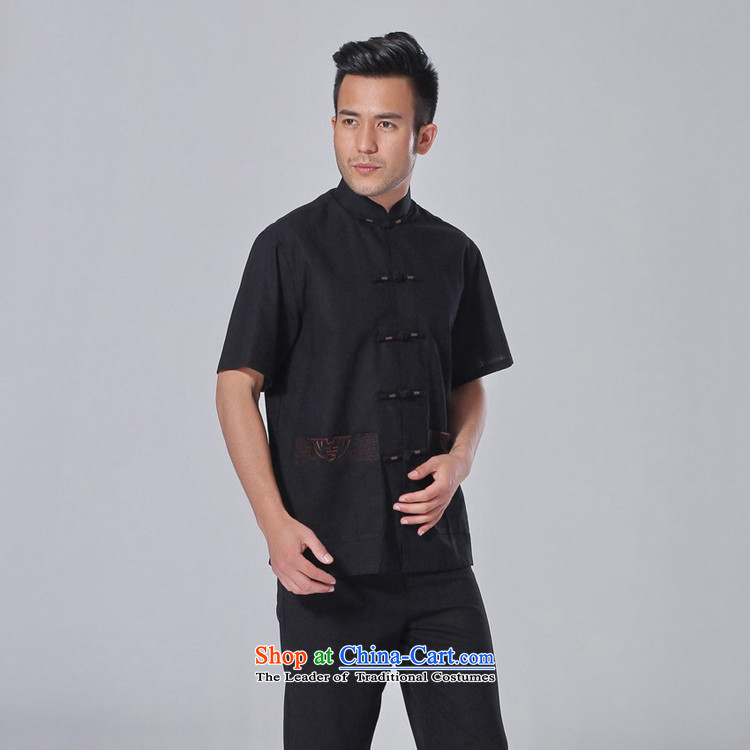 In accordance with the fuser summer trendy new) Older Men's Mock-Neck Shirt embroidery single row detained father boxed short-sleeved blouses聽Lgd/m0058# Tang -A black聽M picture, prices, brand platters! The elections are supplied in the national character of distribution, so action, buy now enjoy more preferential! As soon as possible.