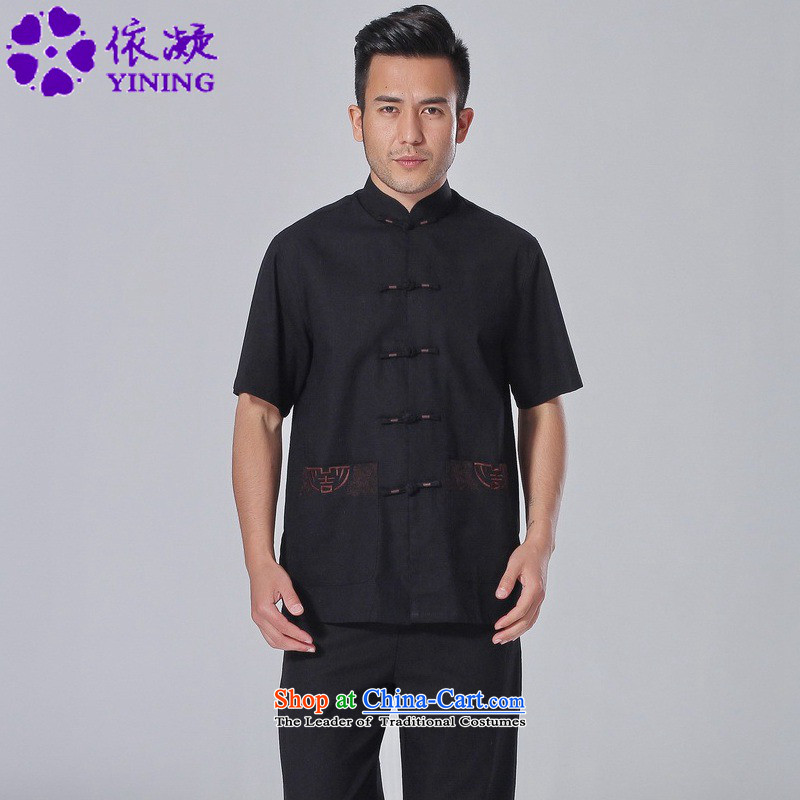 In accordance with the fuser summer trendy new_ Older Men's Mock-Neck Shirt embroidery single row detained father boxed short-sleeved blouses?Lgd_m0058_ Tang -A black?M