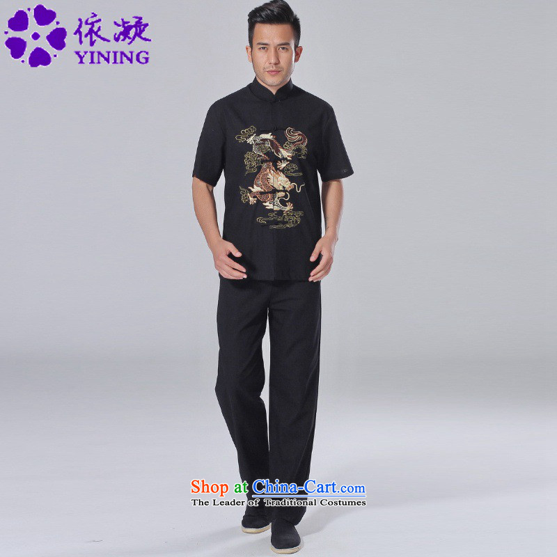 In accordance with the fuser new summer of Chinese Tang dynasty improved Mock-Neck Shirt + embroidery casual pants short-sleeved Tang Dynasty Package LGD/AB0001# -A Black XL