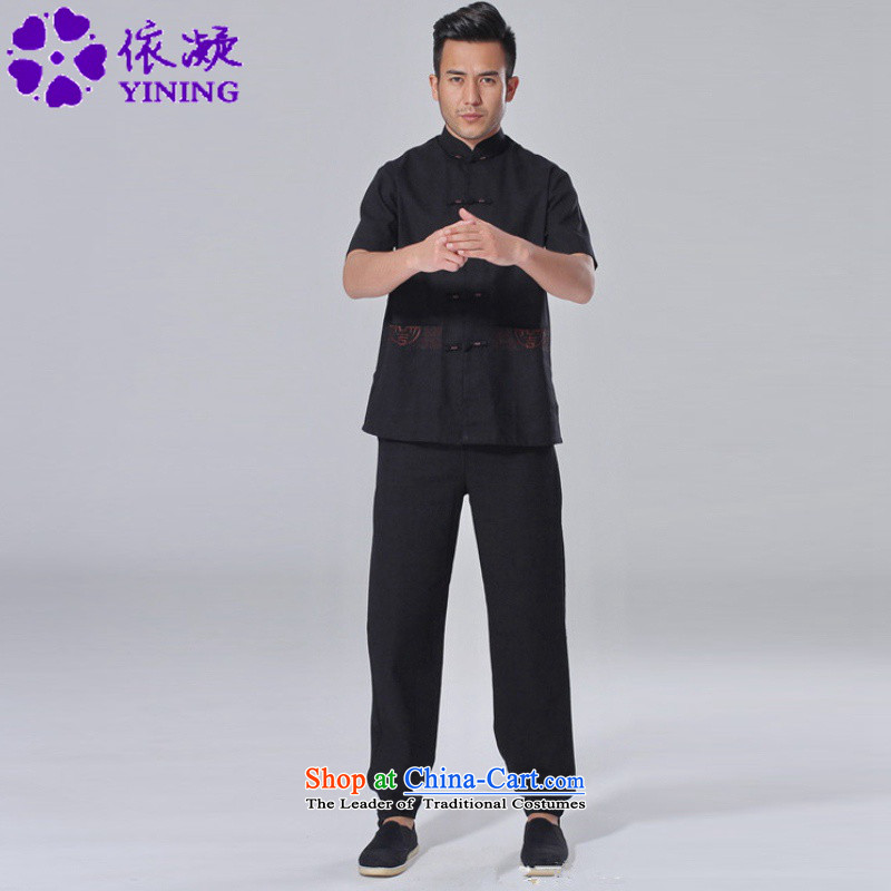 In accordance with the fuser summer men new tai chi short-sleeved shirt embroidery Services + casual pants father replace short-sleeved Tang Dynasty Package LGD/AB0002# -A Black XL