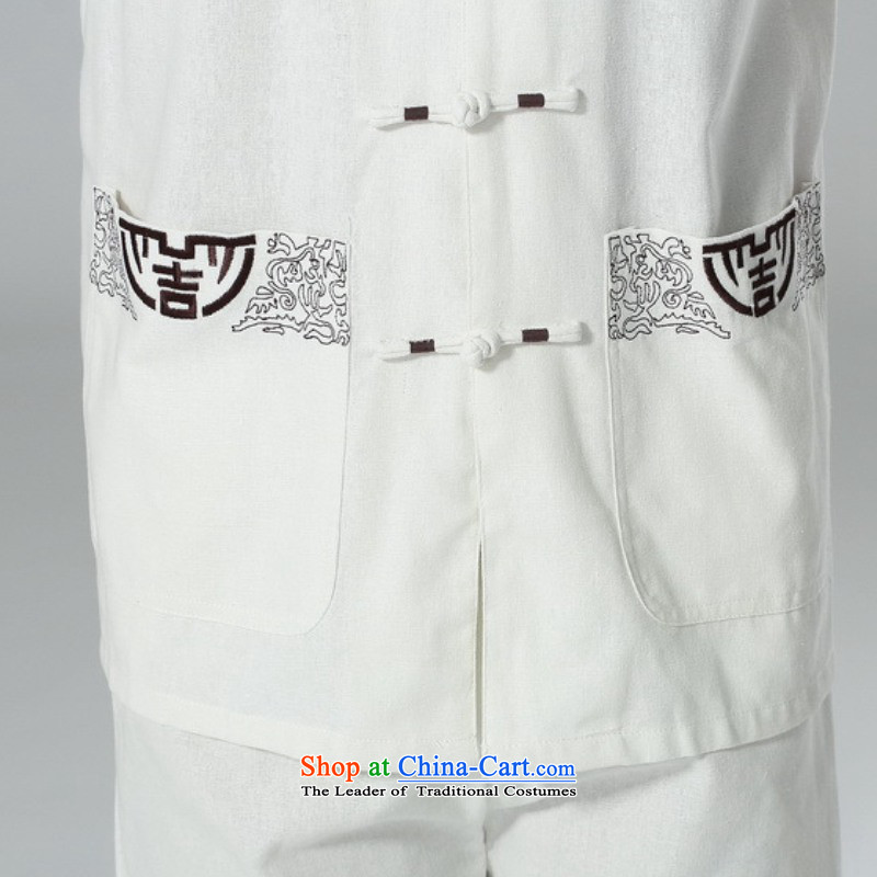 In accordance with the fuser summer men new tai chi short-sleeved shirt embroidery Services + casual pants father replace short-sleeved Tang Dynasty Package in accordance with the -A black XL, LGD/AB0002# fuser , , , shopping on the Internet