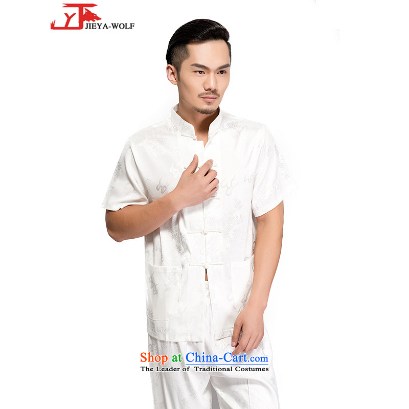 - Wolf JIEYA-WOLF, New Package Tang dynasty men's short-sleeved summer advanced silk Large Dragon pattern handcrafted disc players, white?185/XXL port