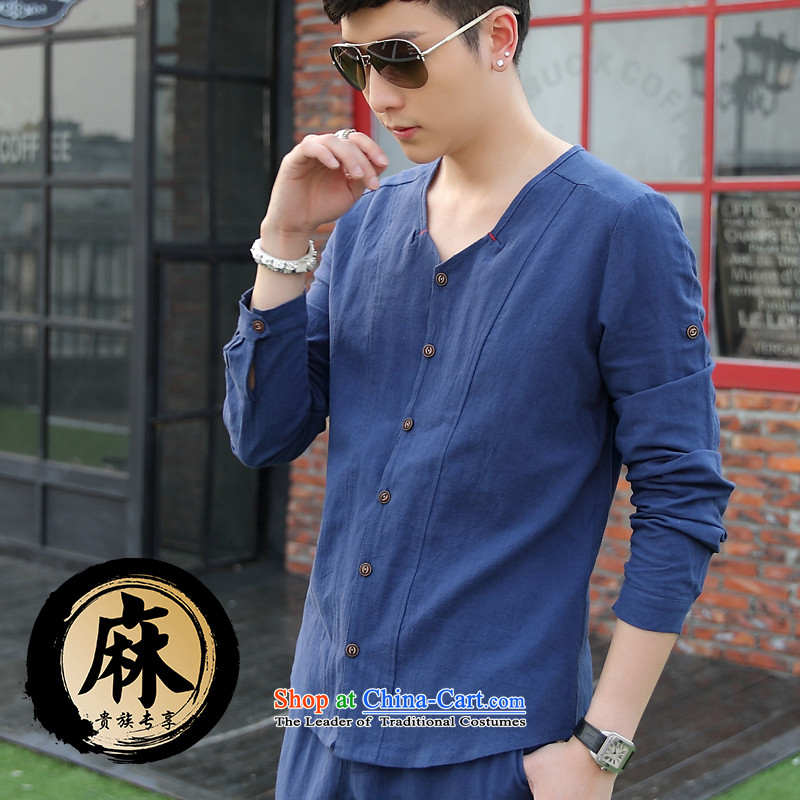 The date of autumn men cotton linen long-sleeved T-shirt V-Neck Kit 8042 light blue燲XL