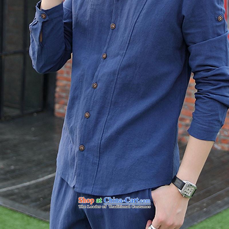 The date of autumn men cotton linen long-sleeved T-shirt V-Neck Kit 8042 light blue聽XXL, happy Ka Man , , , shopping on the Internet