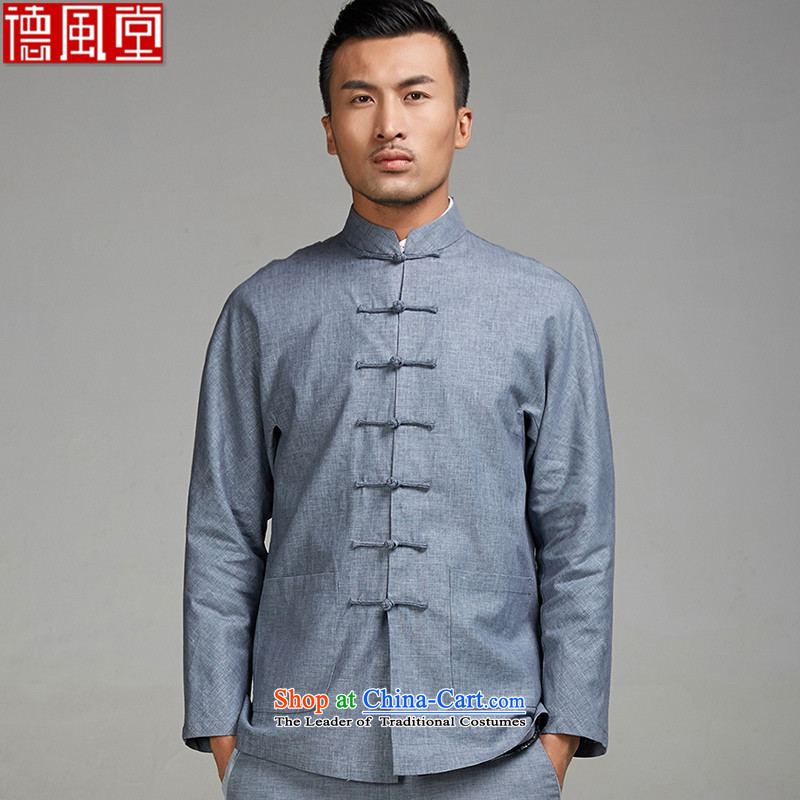 Fudo Aulacese Songs de 2015 new cotton linen china wind Men's Jackets Tang hand-tie of autumn and winter middle-aged men and father replacing Chinese clothing light blue XL