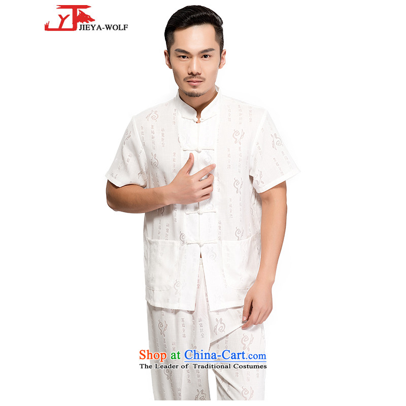 - Wolf JIEYA-WOLF, New Tang dynasty men's short-sleeve kit advanced cotton linen well field in the summer of pure colors of Chinese Wind Up Manually Men with white 180/XL